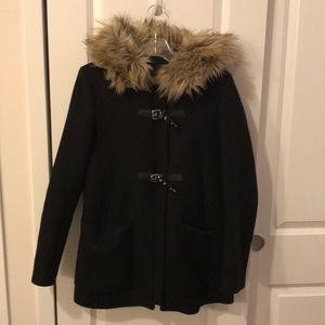 Zara winter coat with fury hood (M)